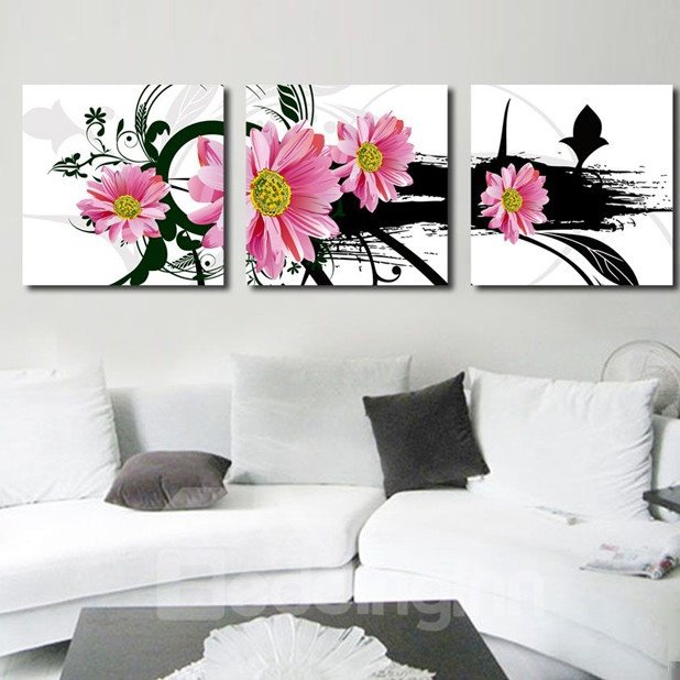 New Arrival Fancy Pink Flowers Canvas Wall Prints