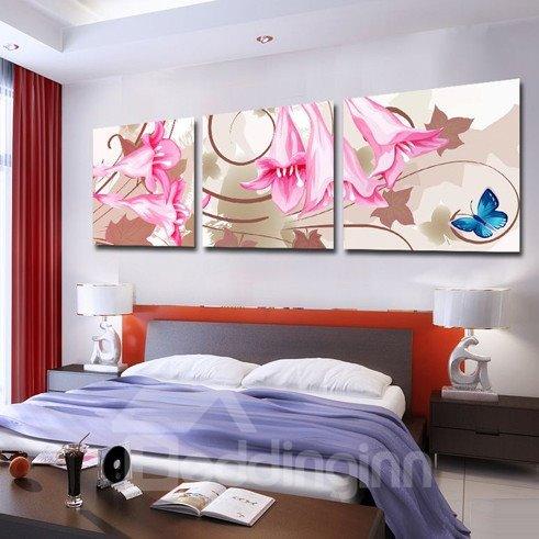 New Arrival Blue Butterfly on Fancy Flowers Canvas Wall Prints