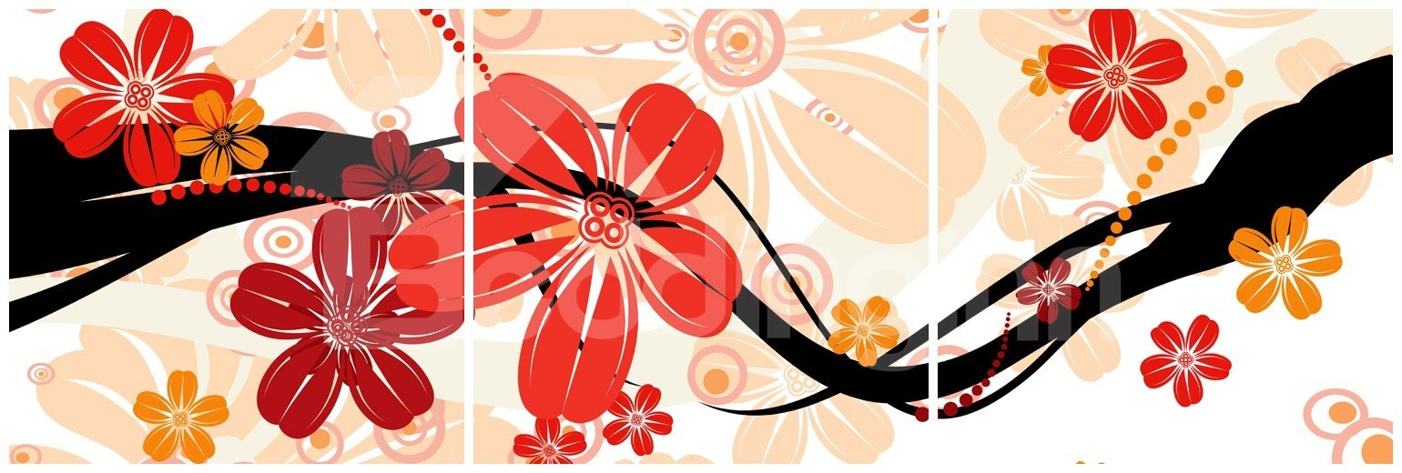 New Arrival Red and Orange Flowers Blossom Canvas Wall Prints