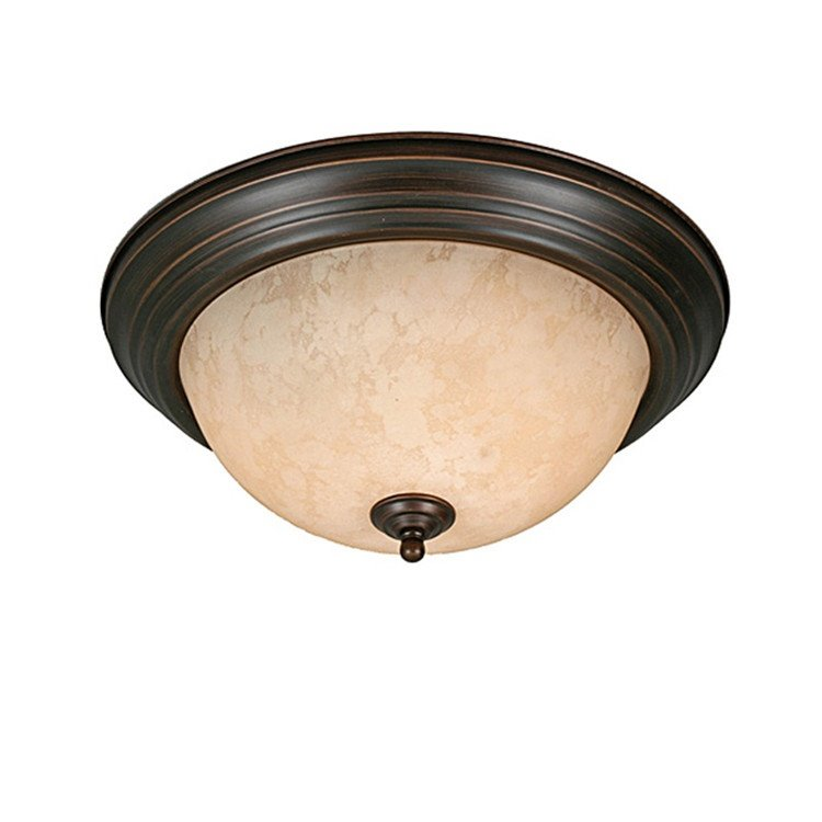Bronze Iron Marerial Glass Shade Round Flush Mount