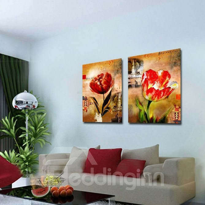 New Arrival Blooming Red Flowers Beside Building Canvas Wall Prints