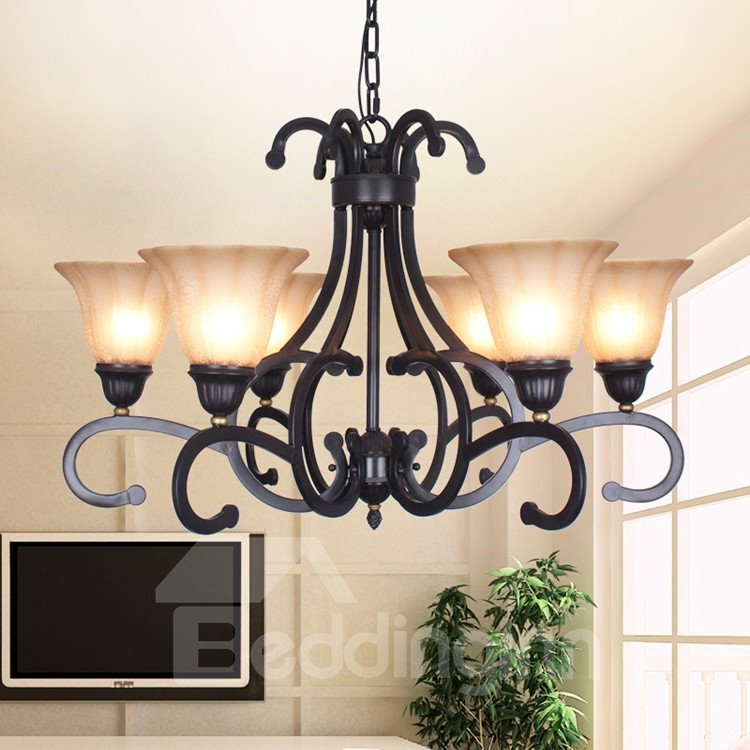 Amazing Bronze Iron Material Glass Shade 6 Lights Chandelier