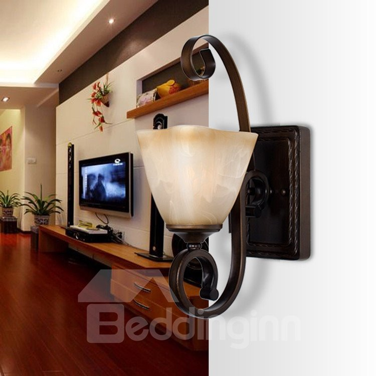 Glamorous Bronze Iron Material Glass Shade Wall Light