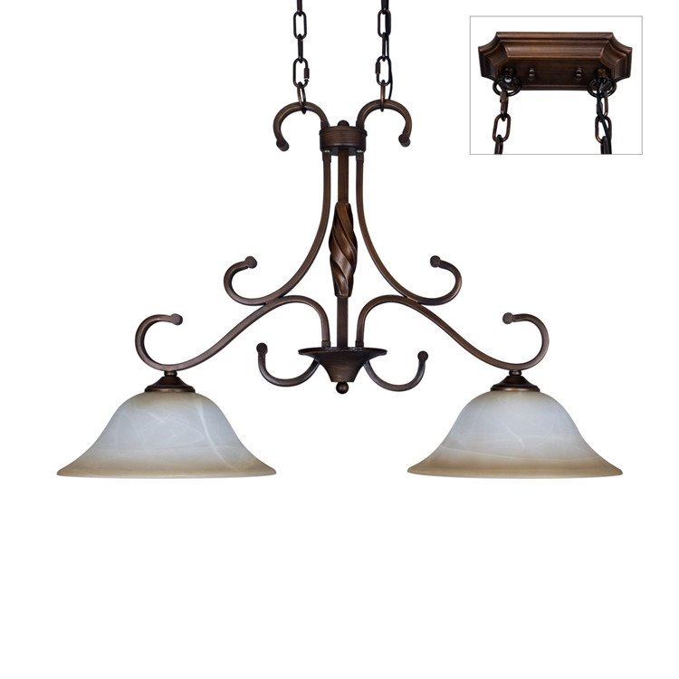 Charming Bronze Iron Material Glass Shade 2 Lights Pentant