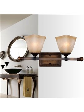 European Style Retro Bronze Iron Material Glass Shade Wall Light