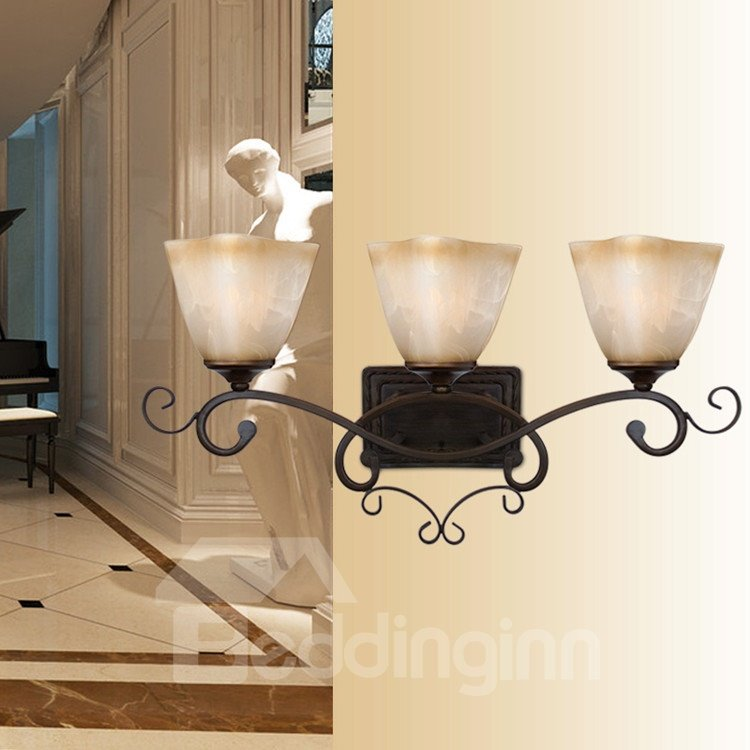 Alluring Bronze Iron Material Glass Shade Wall Light
