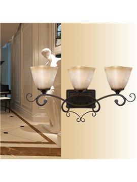 Alluring Bronze Iron Material Glass Shade Wall Light