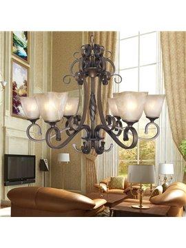 Fantastic Bronze Iron Glass Shade 6 Lights Chandelier