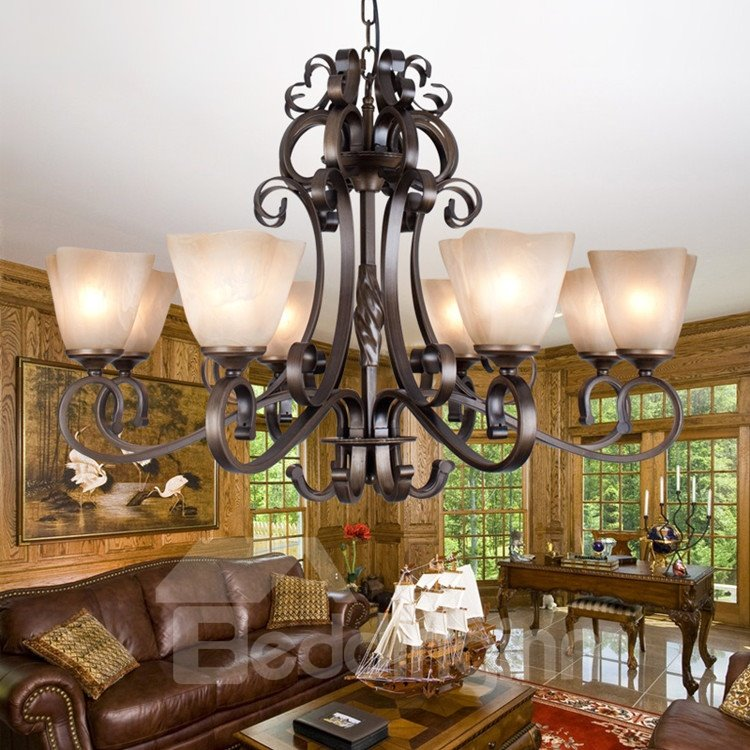 Fantastic Bronze Iron Glass Shade 8 Lights Chandelier
