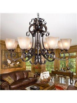Fantastic Bronze Iron Glass Shade 8 Lights Chandelier