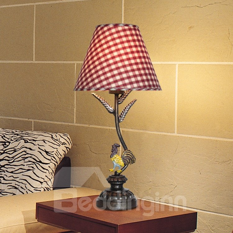 Alluring Antique Iron Fabric Shade 1 Light Table Lamp