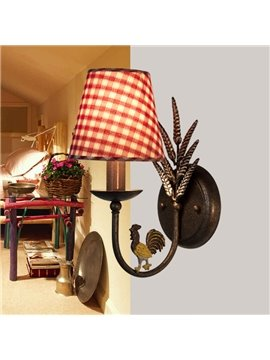 Alluring Antique Iron Fabric Shade 1 Light Wall Light