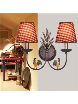 Alluring Antique Iron Fabric Shade 2 Light Wall Light