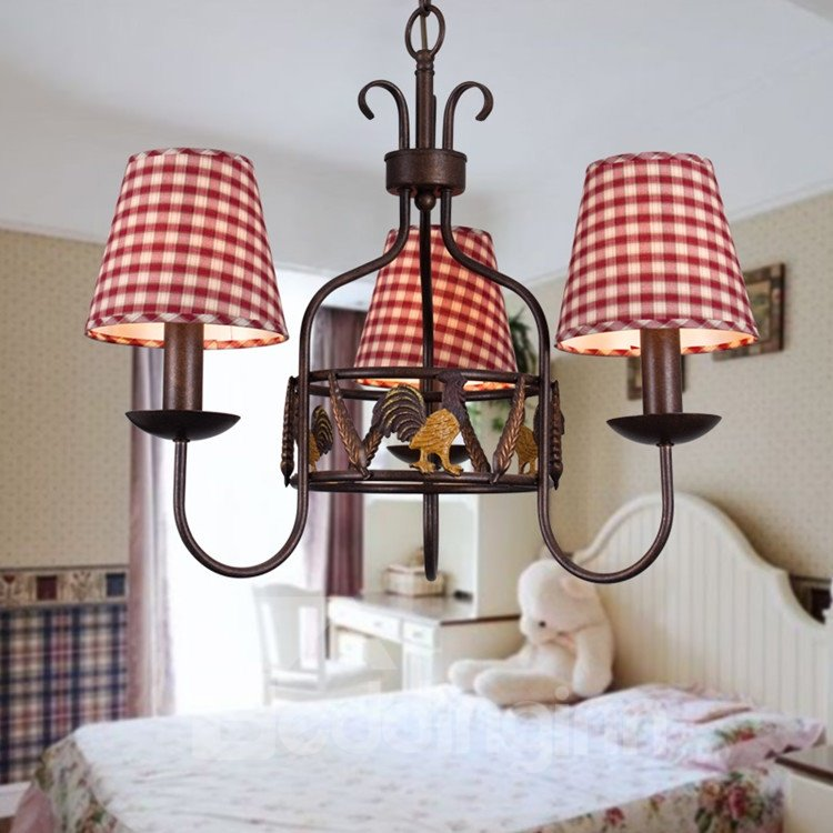 Alluring Antique Iron Fabric Shade 3 Light Chandelier
