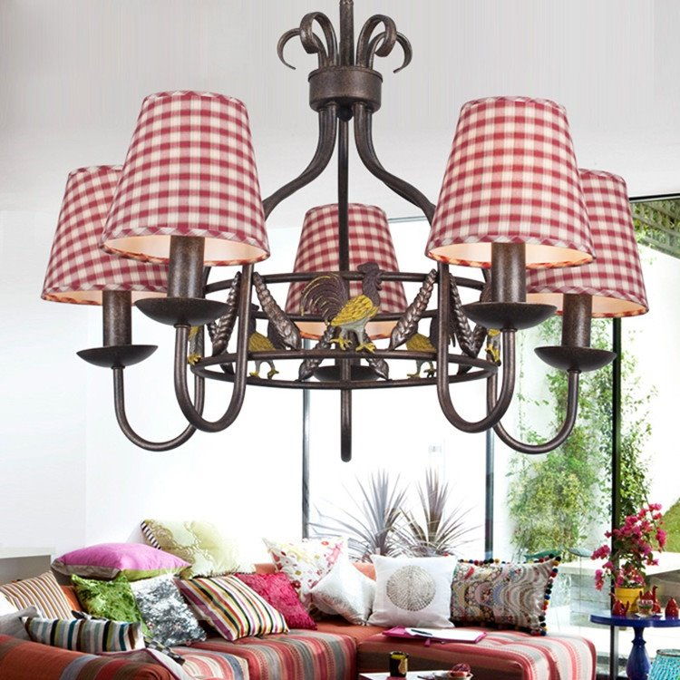 Alluring Antique Iron Fabric Shade 5 Lights Chandelier