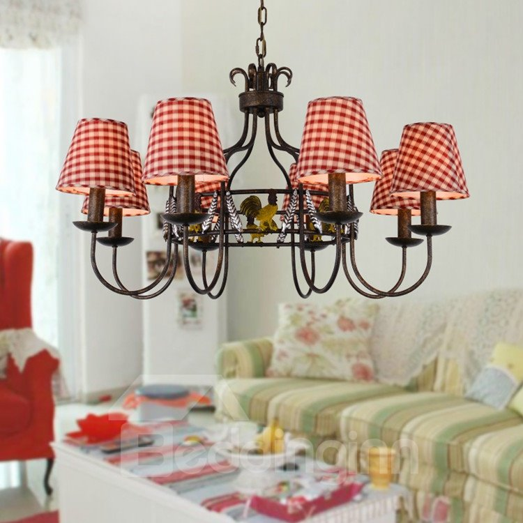 Alluring Antique Iron Fabric Shade 8 Lights Chandelier