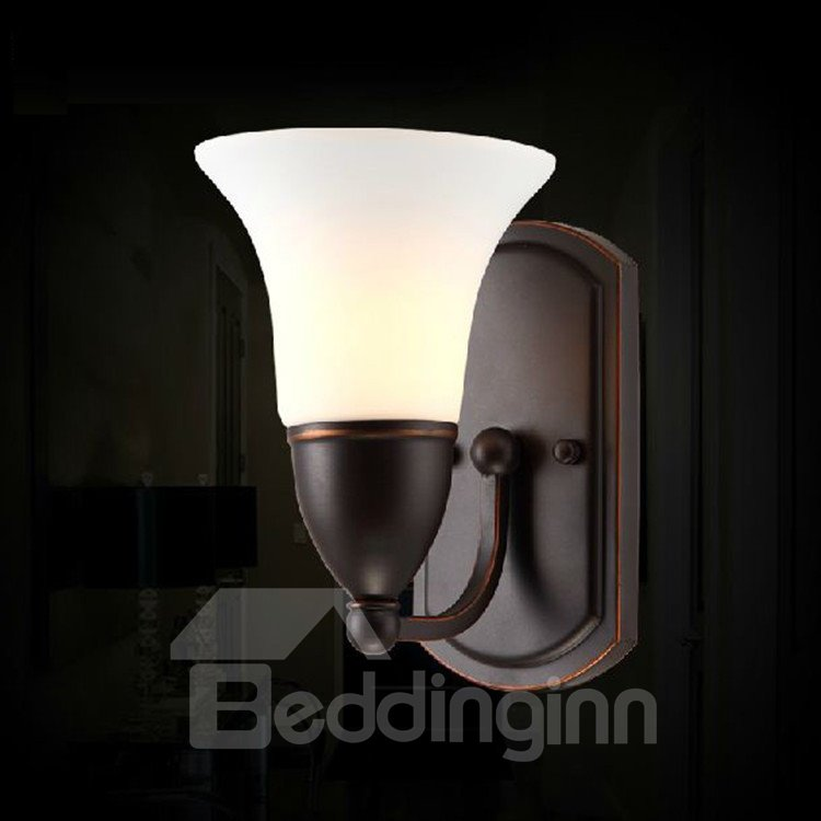 Alluring Iron Glass Shade Electroplated Finish Wall Light