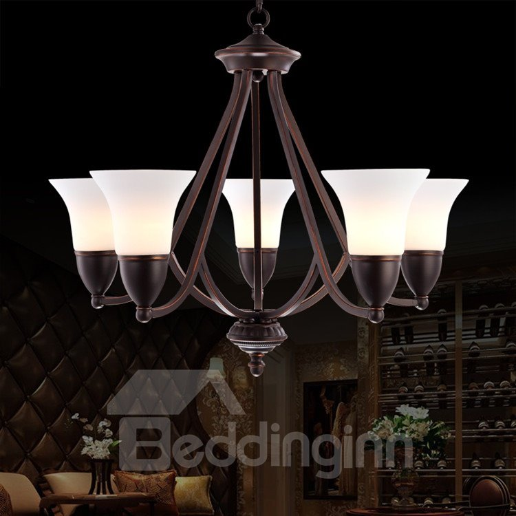 Amazing Iron Material Glass Shade 5 Lights Chandelier