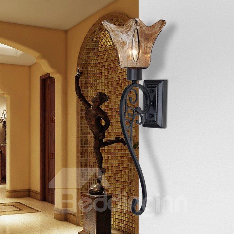 Alluring Matt-black Iron Glass Shade Wall Light
