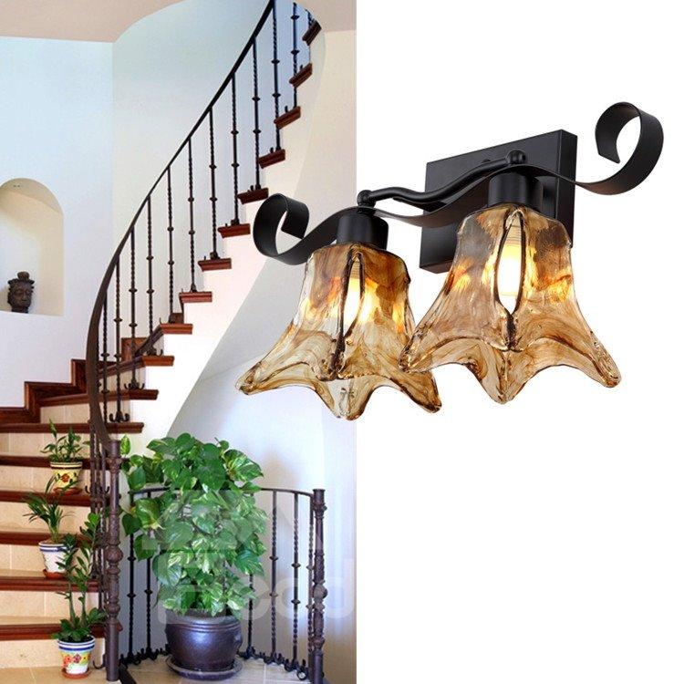 Simple Style Alluring Matt-black Iron Glass Shade Wall Light
