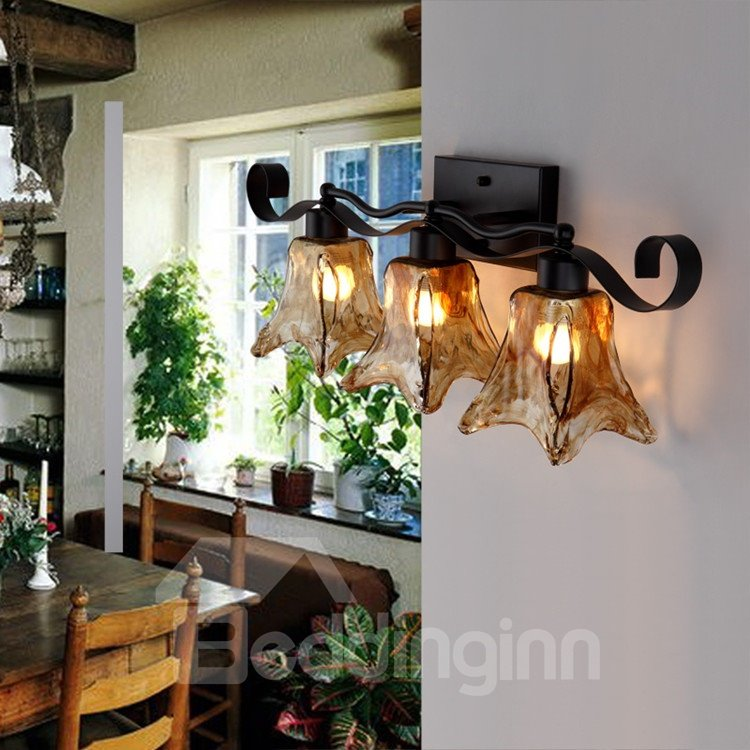 Amazing Style Matt-black Iron Glass Shade Wall Light