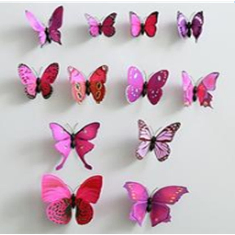 Beautiful and Cute Butterfly Shape 12-Piece Wall Stickers
