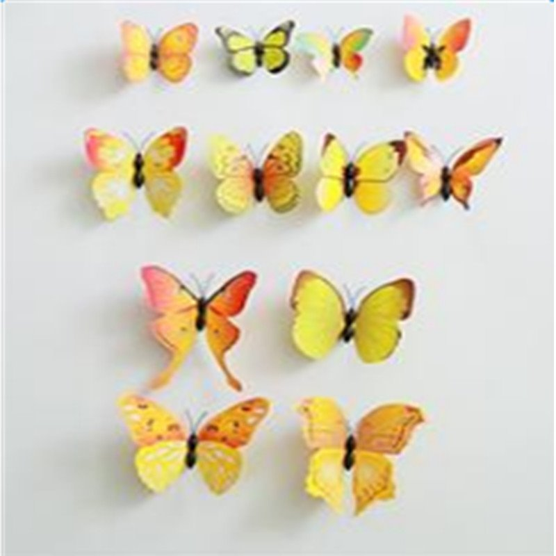 Beautiful and Cute 12-Piece with Pin Home Decorative 3D Butterflies
