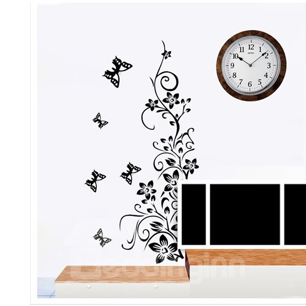 Black Flower Rattan and Butterfly Pattern Wall Stickers