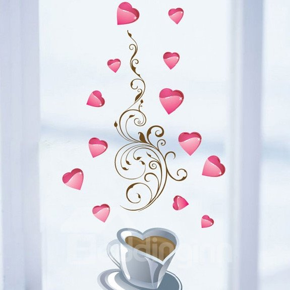 Romantic Coffee Story and Pink Heart Pattern Wall Stickers