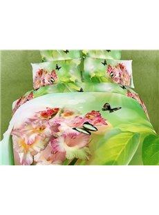 Beautiful Butterflies and Pink Flowers Print 3D Duvet Cover Sets