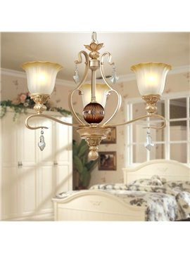 Amazing Iron Crystal Pearly Yellow Glass Shade 3 Lights Chandelier