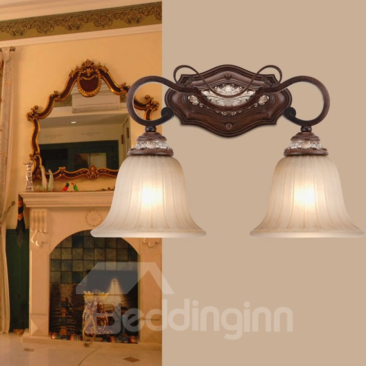 Amazing Antique Resin Iron Glass Shade Wall Light