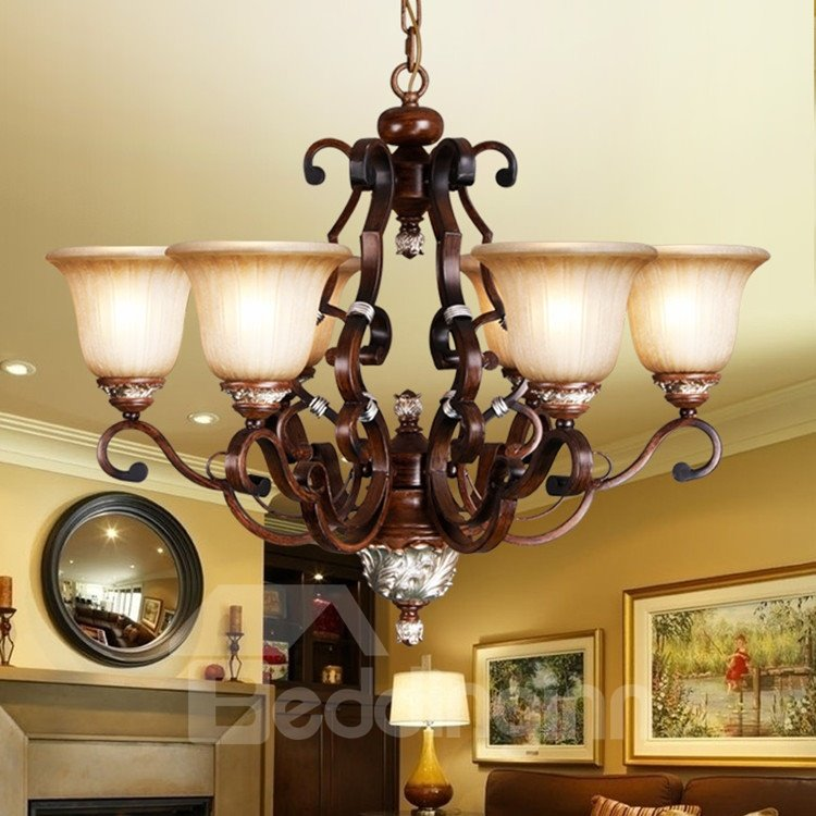 Amazing Antique Resin Iron Glass Shade 6 Lights Chandelier