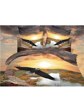 Eagle Flying Over the River Print Polyester 3D Bedding Sets