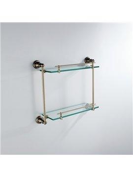 Antique Brass FinishBathroom Accessories Solid Brass Double Glass Shelf