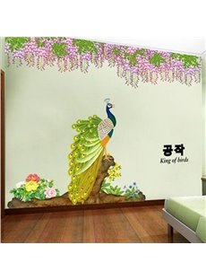 Amazing Peacock and Delicate Flowers Wall Stickers
