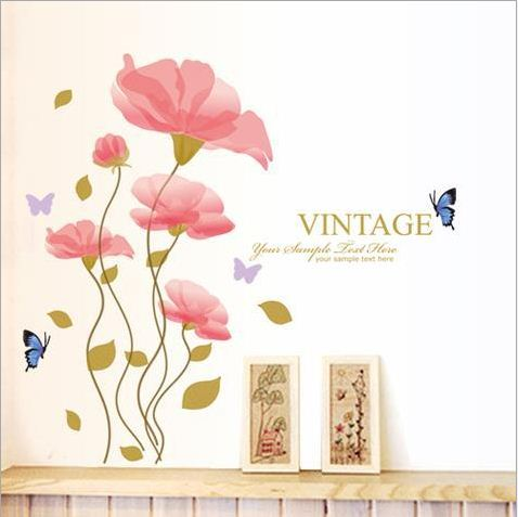 Fancy Pink Flowers and Beautiful Butterflies Pattern Wall Stickers