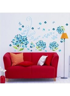 Elegant Removable Sea of Blue Flowers and Butterfly Pattern Wall Stickers