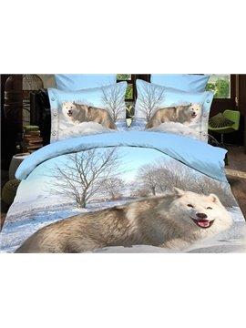 Arctic Fox of Snow Print Polyester 3D Bedding Sets