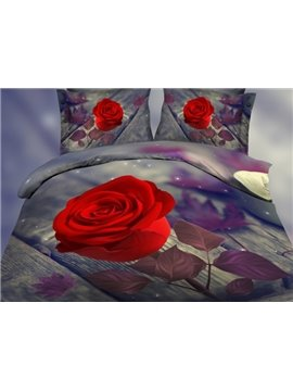Romantic one Red Rose Print Polyester 3D Bedding Sets