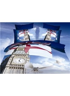 Big Ben and White Pigeons Print Polyester 3D Bedding Sets