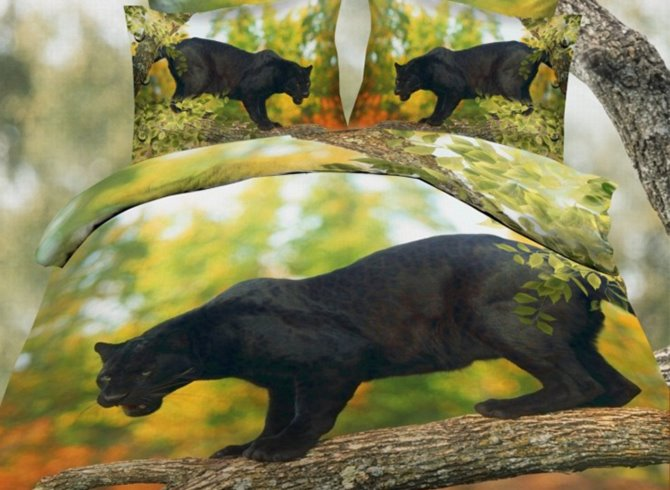 Black Leopard on the Trunk Print Polyester 3D Bedding Sets