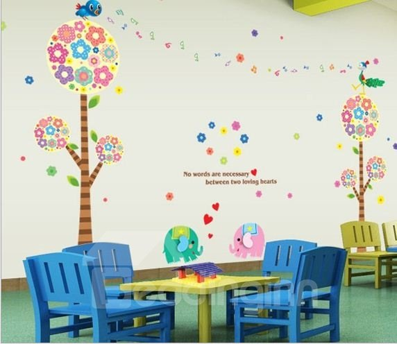 New Arrival Cartoon Birds and Colorful Trees Wall Stickers