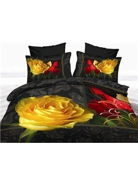Big Roses with Obscure in Paisley Print Polyester 3D Bedding Sets