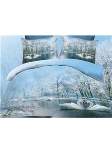 White Swan on River and Ice Tree Print Polyester 3D Bedding Sets