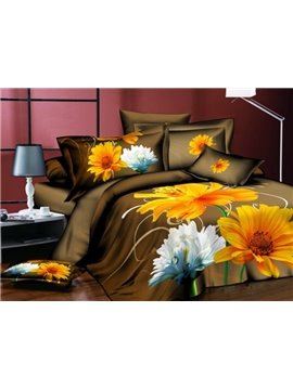 Brilliant Colorful Chrysanthemums Print Polyester 3D Duvet Cover Sets