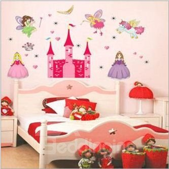 Lovely Princess in the Castle Print Home Decorative Wall Stickers