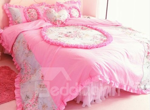 Sweet Color Lace Edge Floral Pattern Cotton Princess Duvet Cover Sets