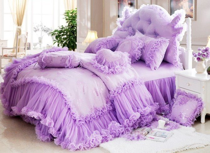 Romantic Purple Total Lace Trim Cotton Cinderella Duvet Cover Sets