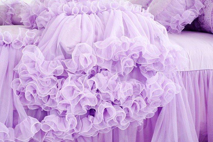 Romantic Purple Total Lace Trim Cotton Cinderella Duvet Cover Sets